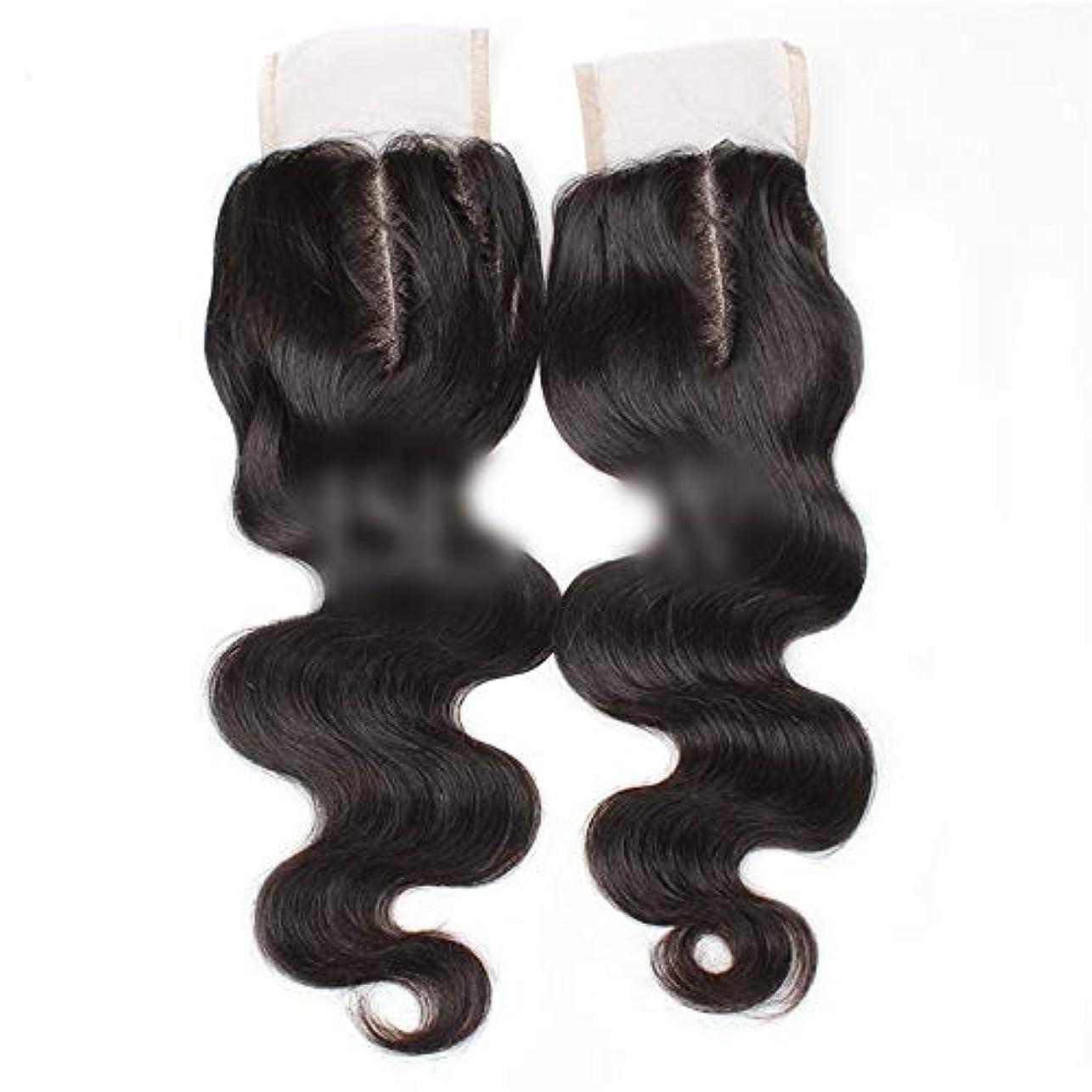 ハンマーハリケーン他の日WASAIO ブラジルの髪の女性生物ブラック8用ボディウェーブ上腹部パート人間の髪「-20」4X4レースクロージャー (色 : 黒, サイズ : 18 inch)