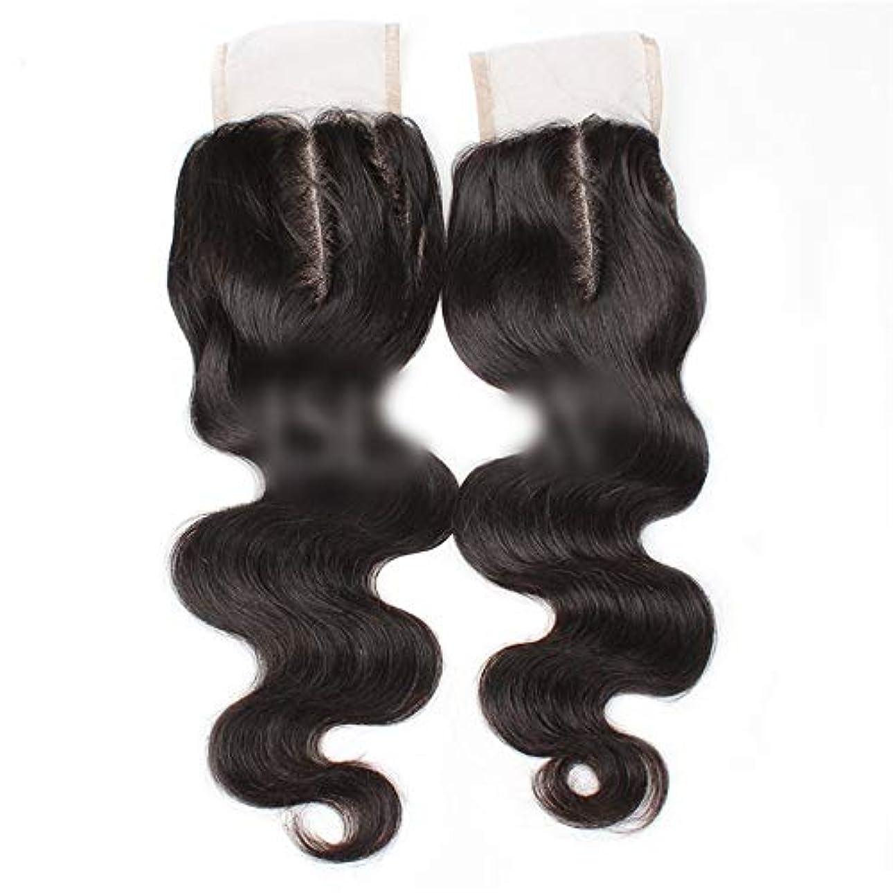 がっかりする指紋水曜日WASAIO ブラジルの髪の女性生物ブラック8用ボディウェーブ上腹部パート人間の髪「-20」4X4レースクロージャー (色 : 黒, サイズ : 18 inch)