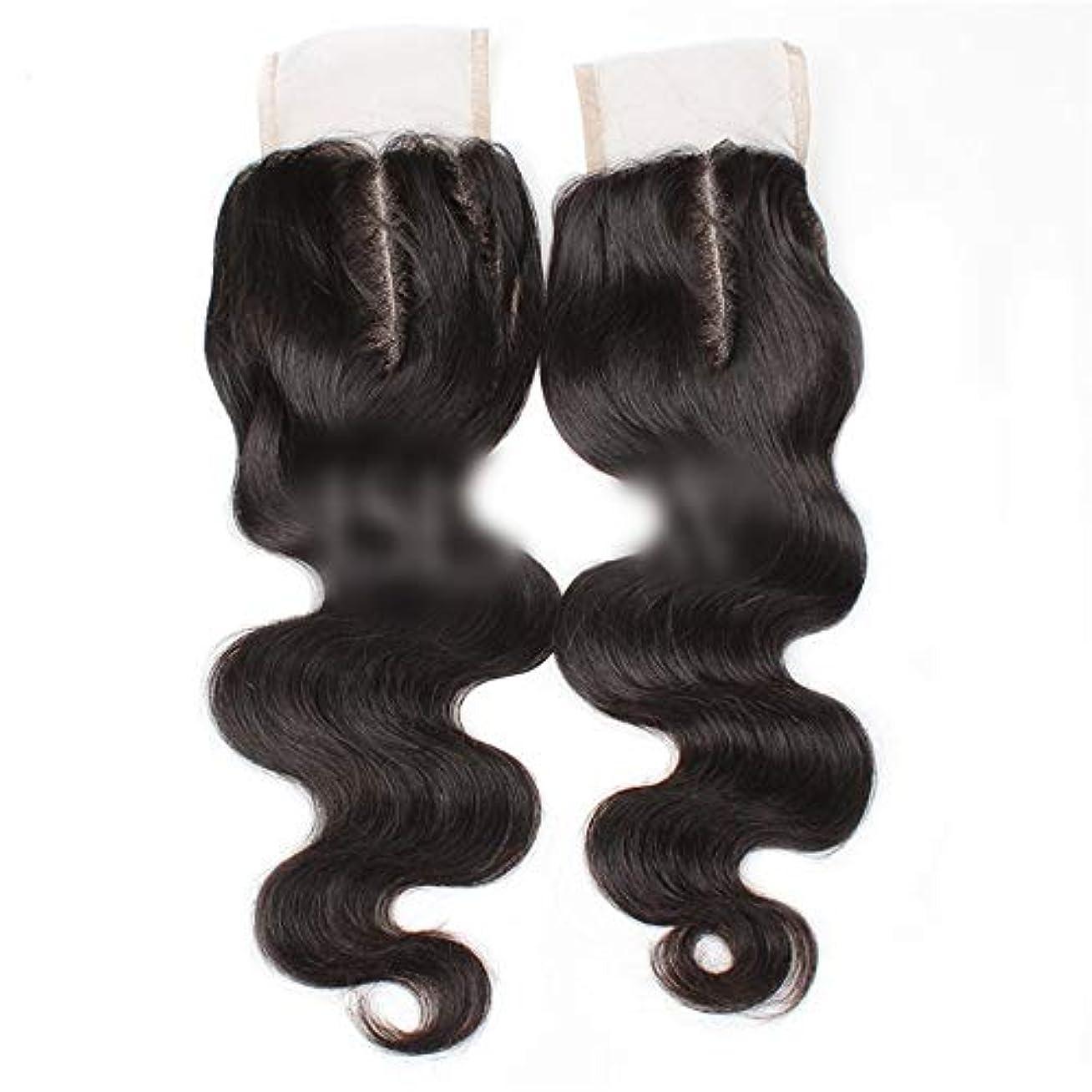 手クラックポット短命HOHYLLYA 9aブラジル髪実体波中間部4×4レース閉鎖人間の髪の毛ナチュラルブラック8