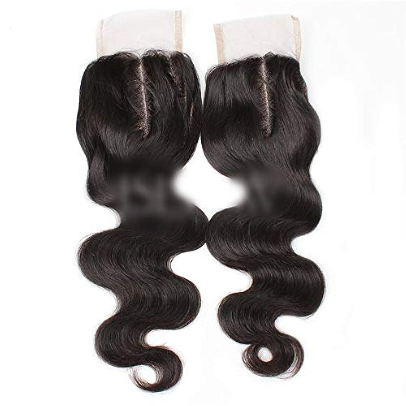 過言再発する改修HOHYLLYA 9aブラジル髪実体波中間部4×4レース閉鎖人間の髪の毛ナチュラルブラック8