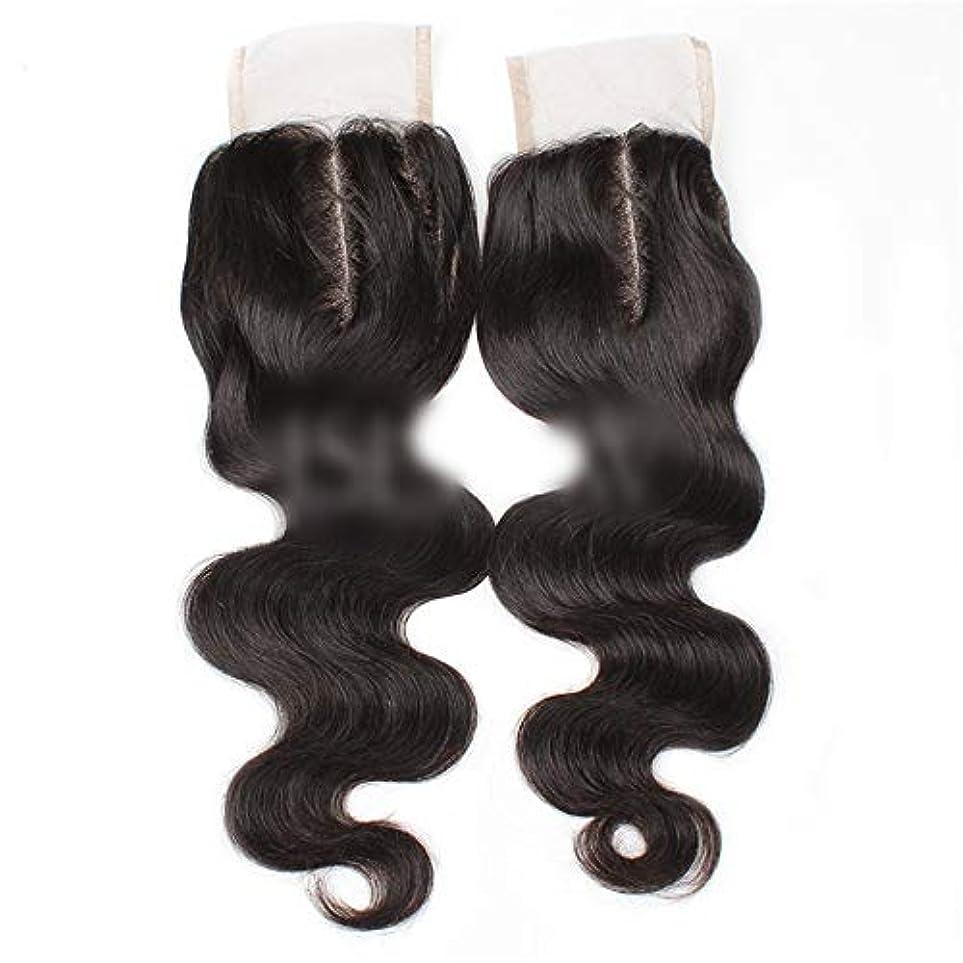 抗生物質ボイコット交差点HOHYLLYA 9aブラジル髪実体波中間部4×4レース閉鎖人間の髪の毛ナチュラルブラック8