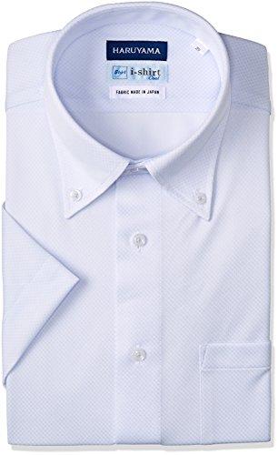 [ハルヤマ] i-shirt 完全ノーアイロン 半袖 ボタンダウンアイシャツ メンズ M162180015 サックス 日本 L(首回り41cm) (日本サイズL相当)