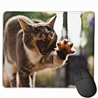 Cheng xiao Mouse Pad Cat Funny Posture Yawning Paw Rectangle Rubber Mousepad Non-toxic Print Gaming Mouse Pad with Black Lock Edge,9.8 * 11.8 in,ベーシック マウスパッド ゲーム用 標準サイズ