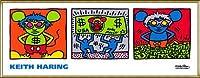 ポスター キース ヘリング Andy Mouse 1986 額装品 アルミ製ハイグレードフレーム(ゴールド)
