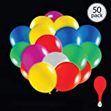50 pack mix colour LED light up 7 colour flashing round balloons. Premium latex. Lights 12-24 hours. Glow in the dark. Great supplies decorations for wedding, birthday parties, dance party. Helium & Air. (Globos para fiestas)