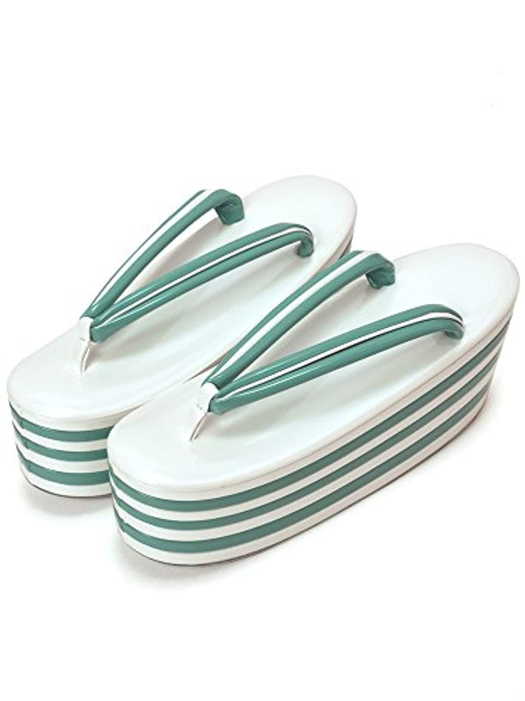 [ 京都きもの町 ] 七枚芯 草履単品 白×グリーン フリー Lサイズ 成人式 結婚式の振袖に 振袖草履 卒業式の袴に