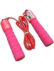 調整可能なプロフェッショナルカウント縄跳び自動カウントジャンプロープフィットネス運動高速カウントジャンプロープ - 赤