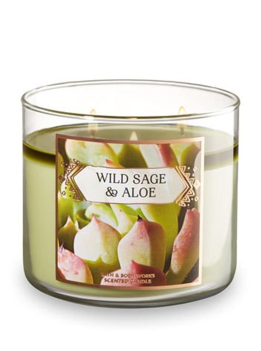ジャム宣言する餌Bath and Body Works Wild Sage andアロエ香りつき3-wick Candle 14.5オンス