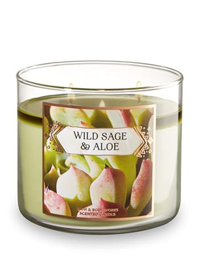 Bath and Body Works Wild Sage andアロエ香りつき3-wick Candle 14.5オンス