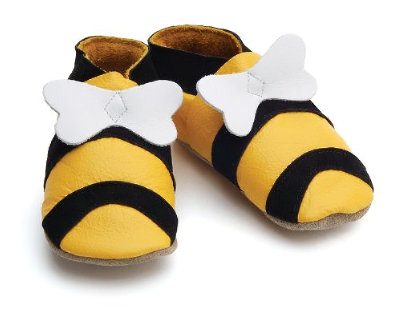 【英国製カーフレザーベビーシューズ】?ミツバチbee yellow Sサイズ?