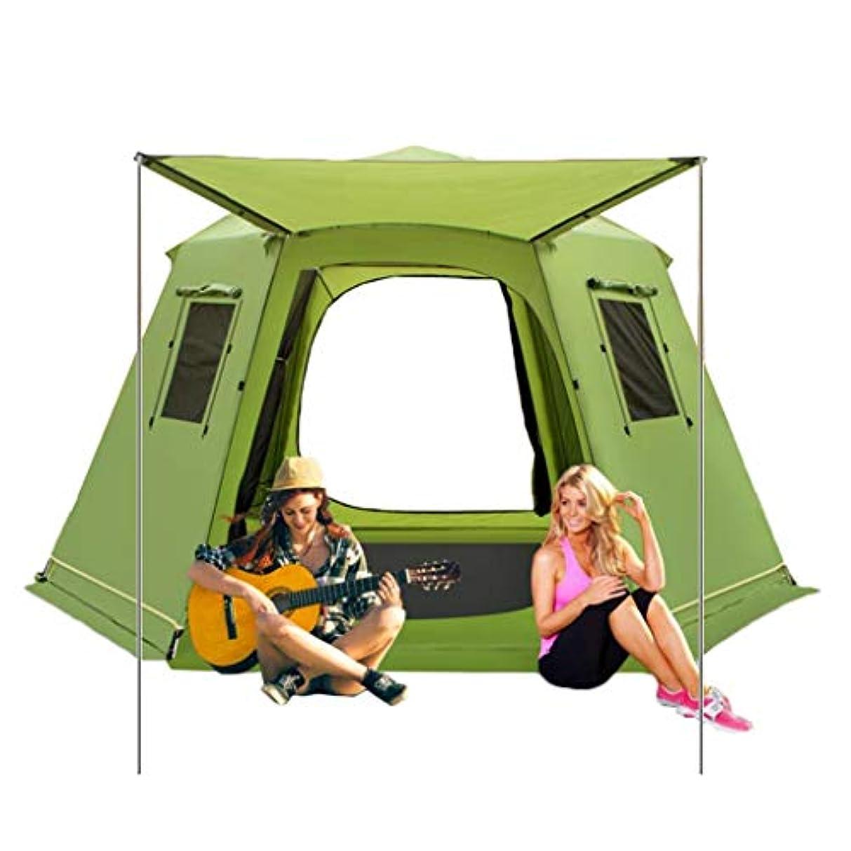 はず忌み嫌う施しテント?タープ/テント テント屋外自動テント6-8人アルミポールダブルテントフリービルド六角形のキャンプテント広々とした家族のテント (Color : Green, Size : 368*368*190cm)
