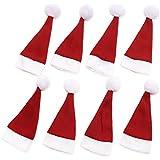 SODIAL 8 x カバーサンタ帽子15,5x6cmクリスマス用カトラリーホルダー