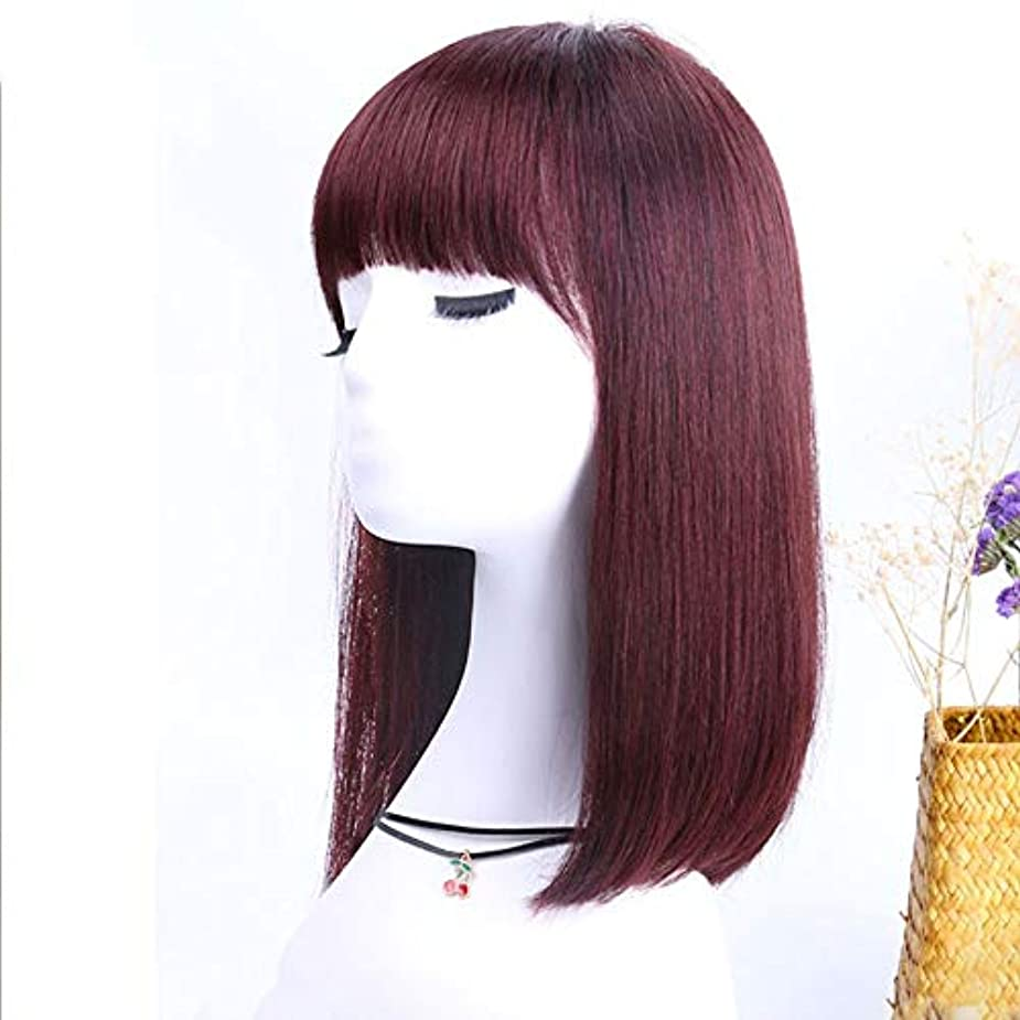 花輪矛盾死ぬYOUQIU 女性のパーティードレス毎日ウィッグのために本物の人間の髪の毛ボブウィッグショルダーストレート髪の内側にバックル梨ヘッド (色 : Dark brown)