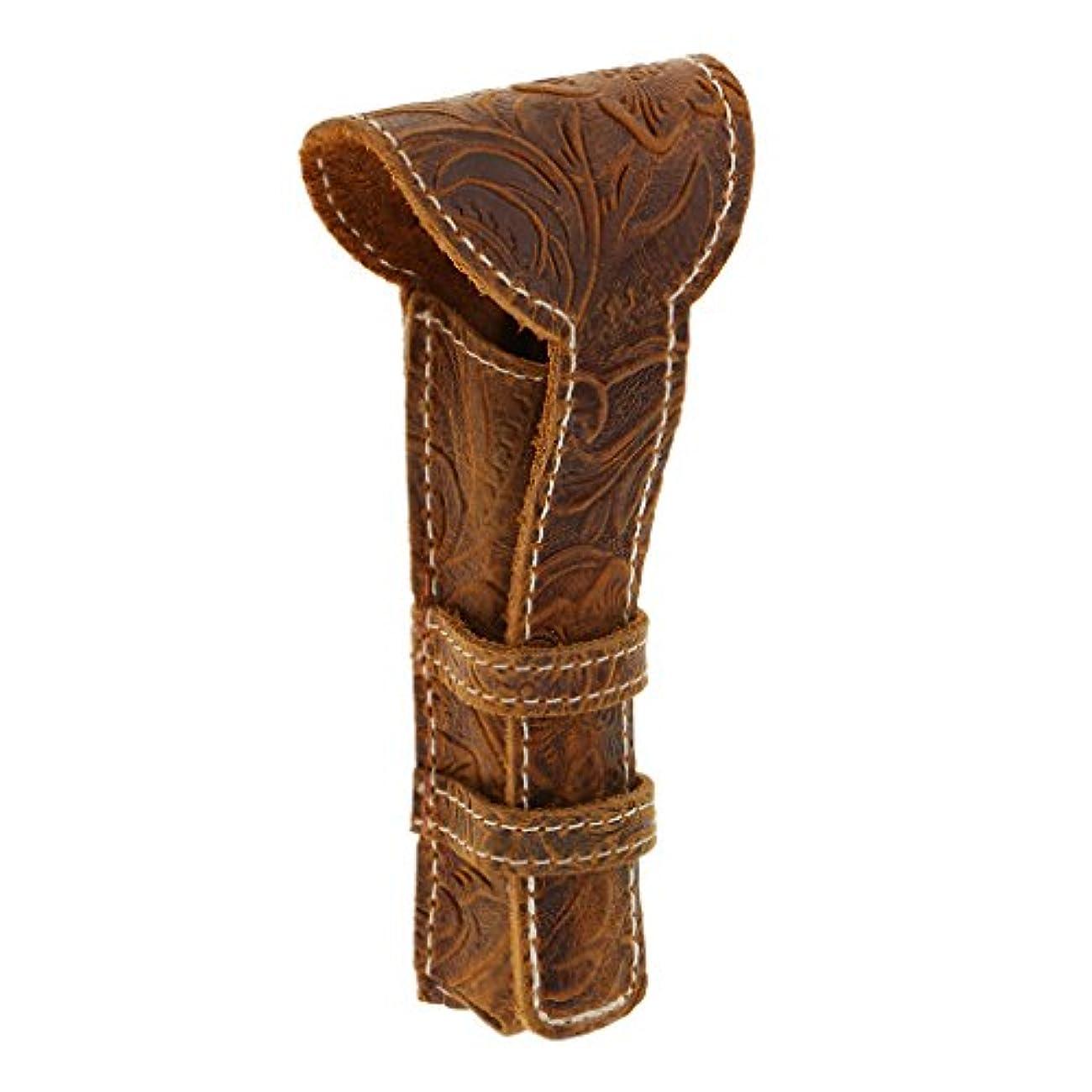 杖衰えるバーストLovoski カミソリケース 剃刀ケース ブラウン 高品質 レザー製 レトロ カミソリ カミソリ収納ケース