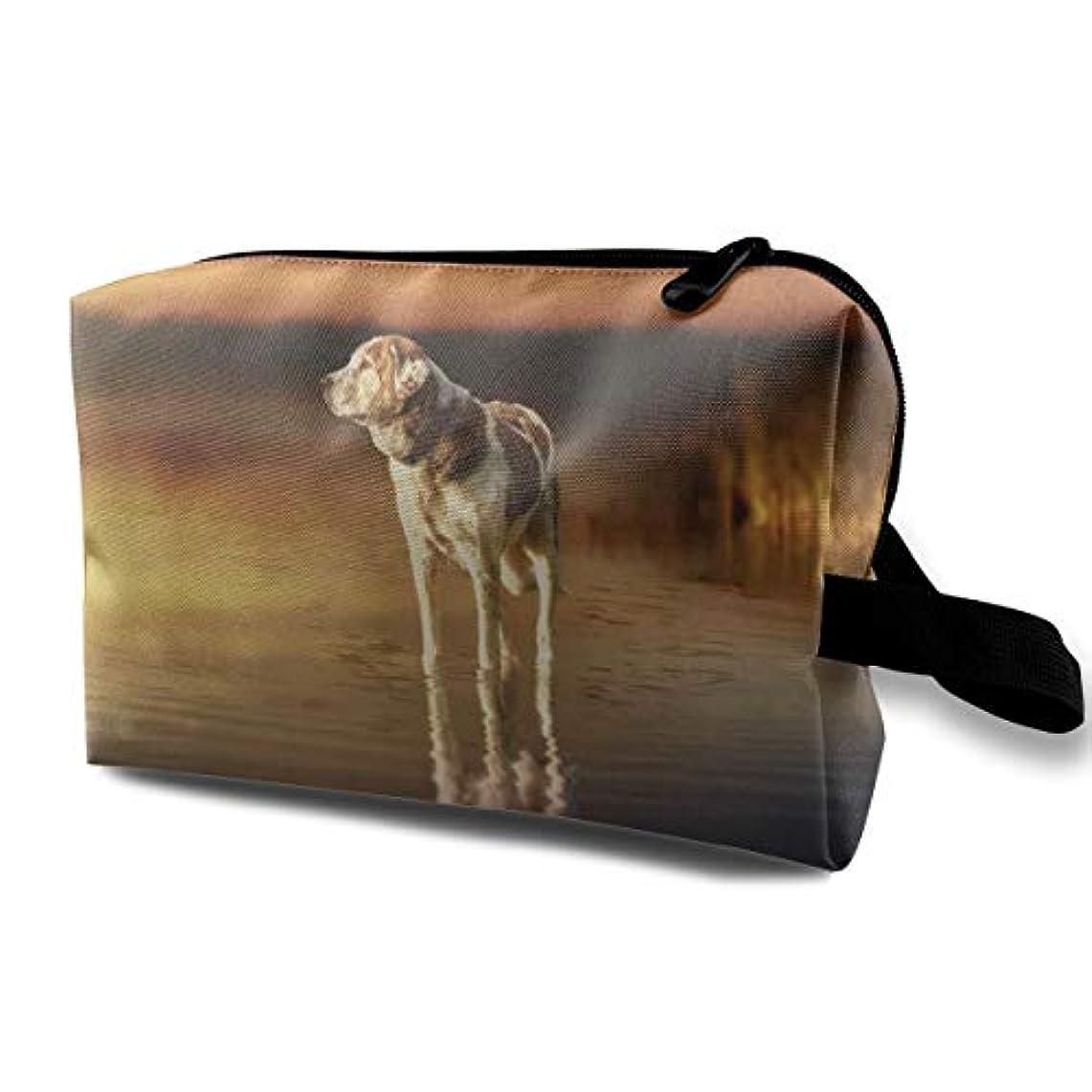 用語集アナリストラショナルMaxpowerful 夕暮れ時の湖の子犬 大旅行化粧品ポーチバッグ化粧バッグ、収納袋ジッパー付きポータブル