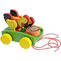AxiEr Children Wooden Rooster Pull Carts Preschool Toddler Toy by AxiEr
