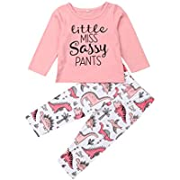 Newborn Baby Girl Pink Shirt Tops and Dinosaor Pants/Leggings 2 Piece Costume Clothes Outfit Sets