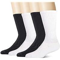 +MD 4 Pack Mens Bamboo Dress Socks Non-Binding Wide Socks Moisture Wicking Cushioned Crew Socks 2Black2White10-13