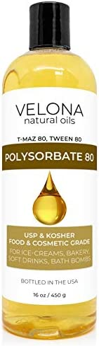 Polysorbate 80 by Velona 2 oz - 7 lb | Solubilizer, Food & Cosmetic Grade | All Natural for Cooking, Skin