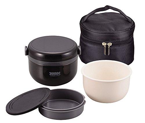 パール金属 保温 弁当箱 540ml 茶碗 約 2.7 杯分 バッグ付 ブラック 特盛 どんぶり ランチ ほかどん HB-1314