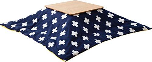 エムール フリース生地 こたつ布団カバー こたつカバー 正方形 十字ネイビー