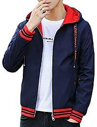 Fly Year-JP メンズロングスリーブフロントジップ薄い軽量リバーシブルフードジャケット