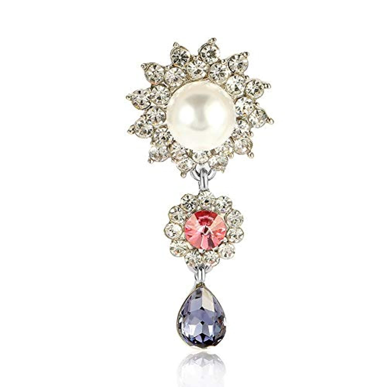 SKZKK女性のためのクリスタルペンダントブローチ真珠女性のためのクリスタルダイヤモンド花嫁作成合金メッキブローチとピン女性のためのセータークリップ