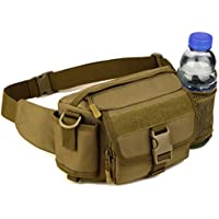 Multi Functional Waist Pack Military Single Shoulder Hip Belt Bag Fanny Packs Water Resistant Waist Bag Pouch Hiking Climbing Outdoor Bumbag with Water Bottle Pocket Holder