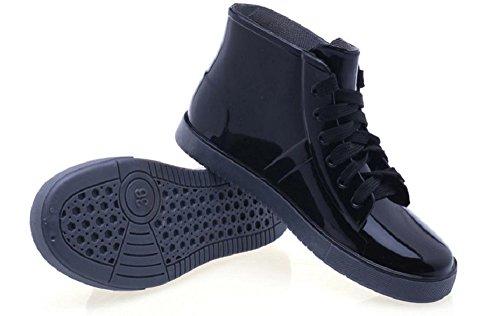 [kuro&Ardor] 雨の日も おしゃれレイン ブーツ シューズ 長靴 雨靴 女性 防水 (23, 黒)