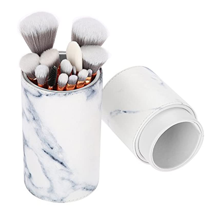 どうしたのチューリップ人工的な15本 メイクブラシ、大理石柄化粧筆 粉、フェイスブラシ 化粧品ブラシ 大理石の模様 高級繊維毛 アイブラシセット 収納ボックス