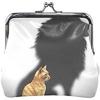 がま口 小銭入れ 財布 猫の影 ライオン コインケース レザー製 丸形 軽量 人気 おしゃれ プレゼント ギフト 雑貨