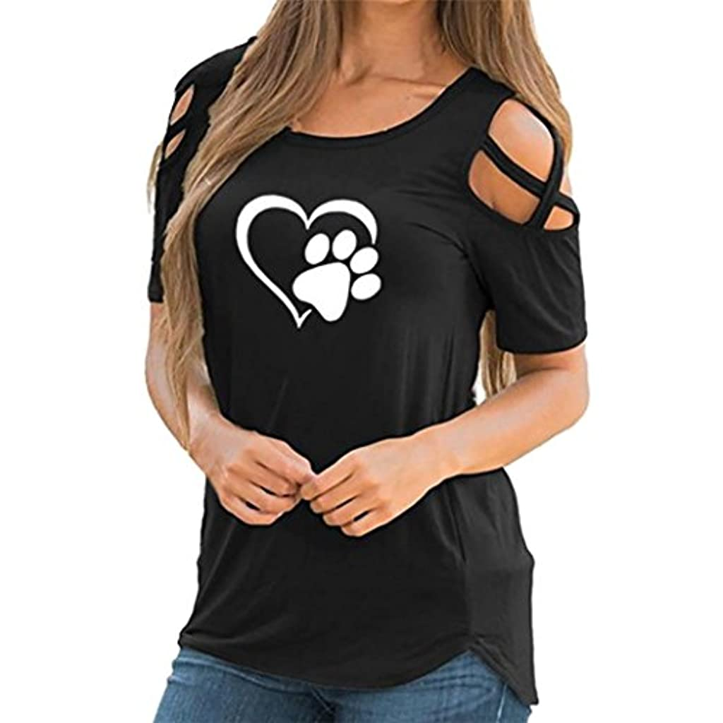 かまどワーカー故意にSakuraBest 女性 オフショルダー半袖プリント大サイズTシャツ