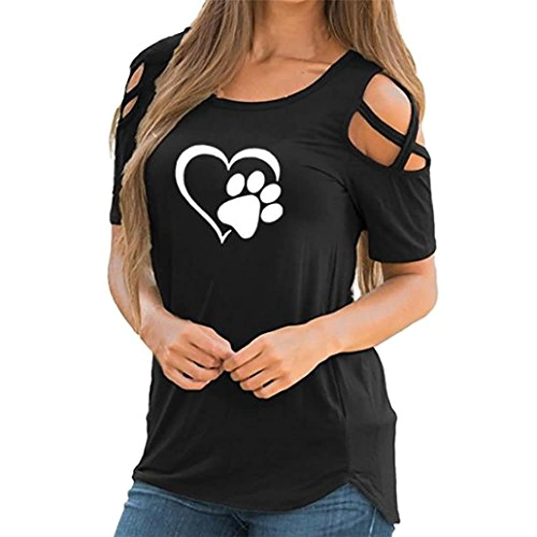 規定非難シャッフルSakuraBest 女性 オフショルダー半袖プリント大サイズTシャツ