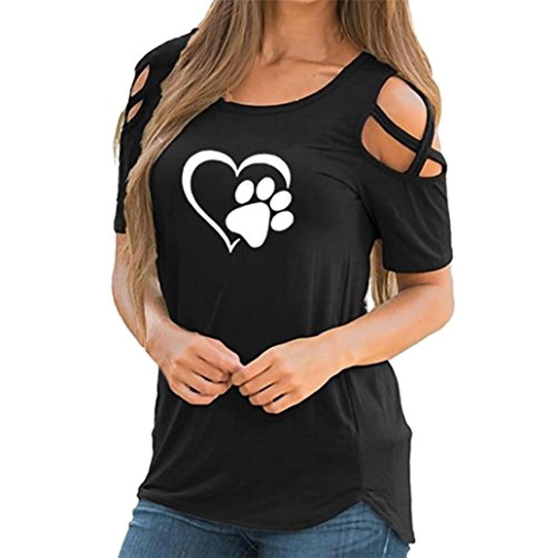 SakuraBest 女性 オフショルダー半袖プリント大サイズTシャツ