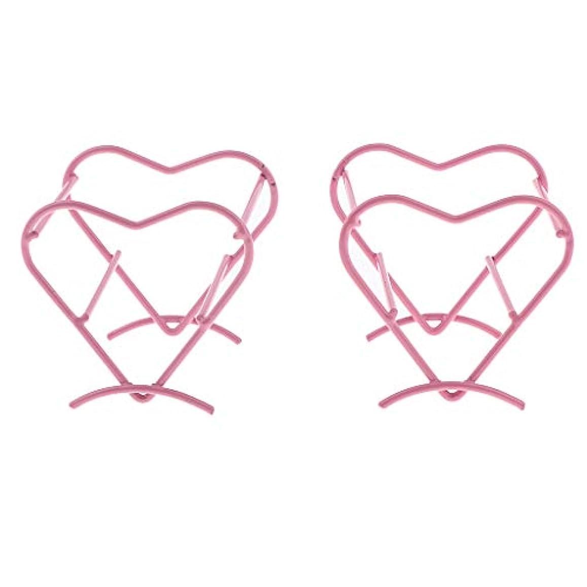 ピジン電信想起2個 美容スポンジブレンダー パフホルダー ハート型 乾燥ラック 4色選べ - ピンク
