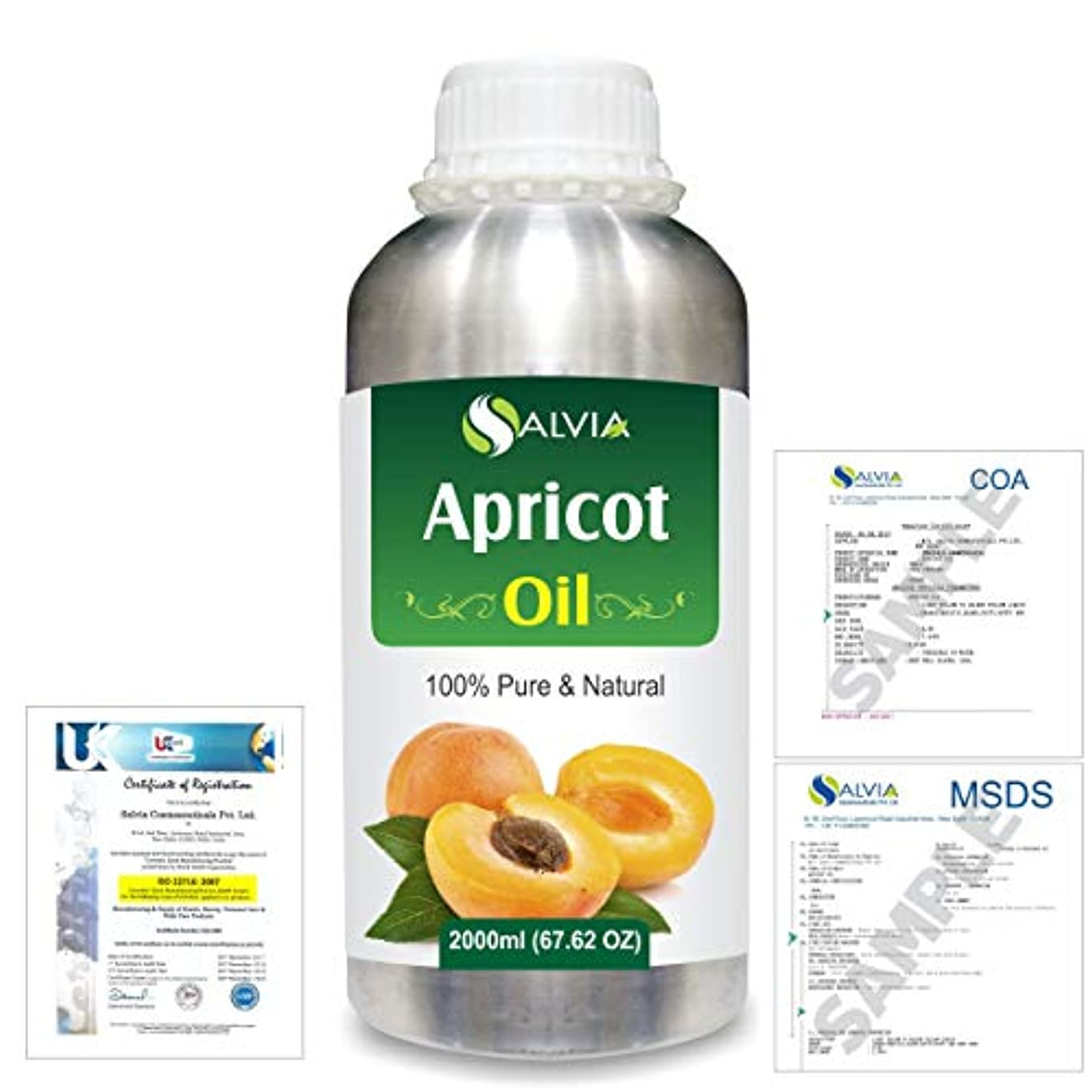 腹痛非武装化アルコールApricot (Prunus armeniaca) Natural Pure Undiluted Uncut Carrier Oil 2000ml/67 fl.oz.