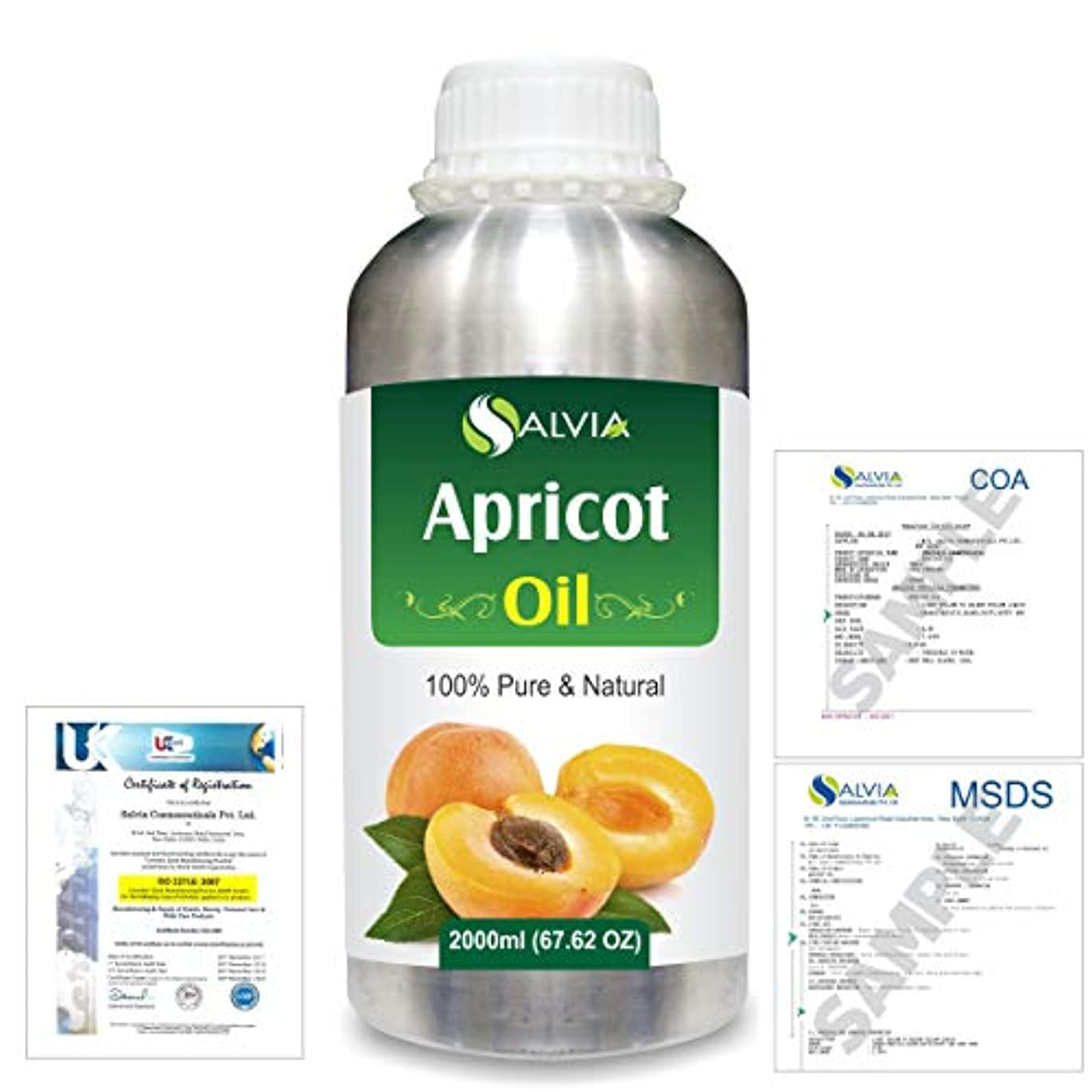カプセルローン損失Apricot (Prunus armeniaca) Natural Pure Undiluted Uncut Carrier Oil 2000ml/67 fl.oz.