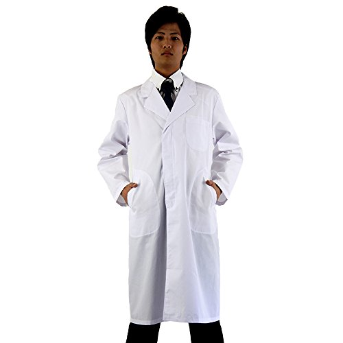 白衣netメンズ用男性ドクター医師診察衣 長袖 シングルボタン ロング丈 ホ...