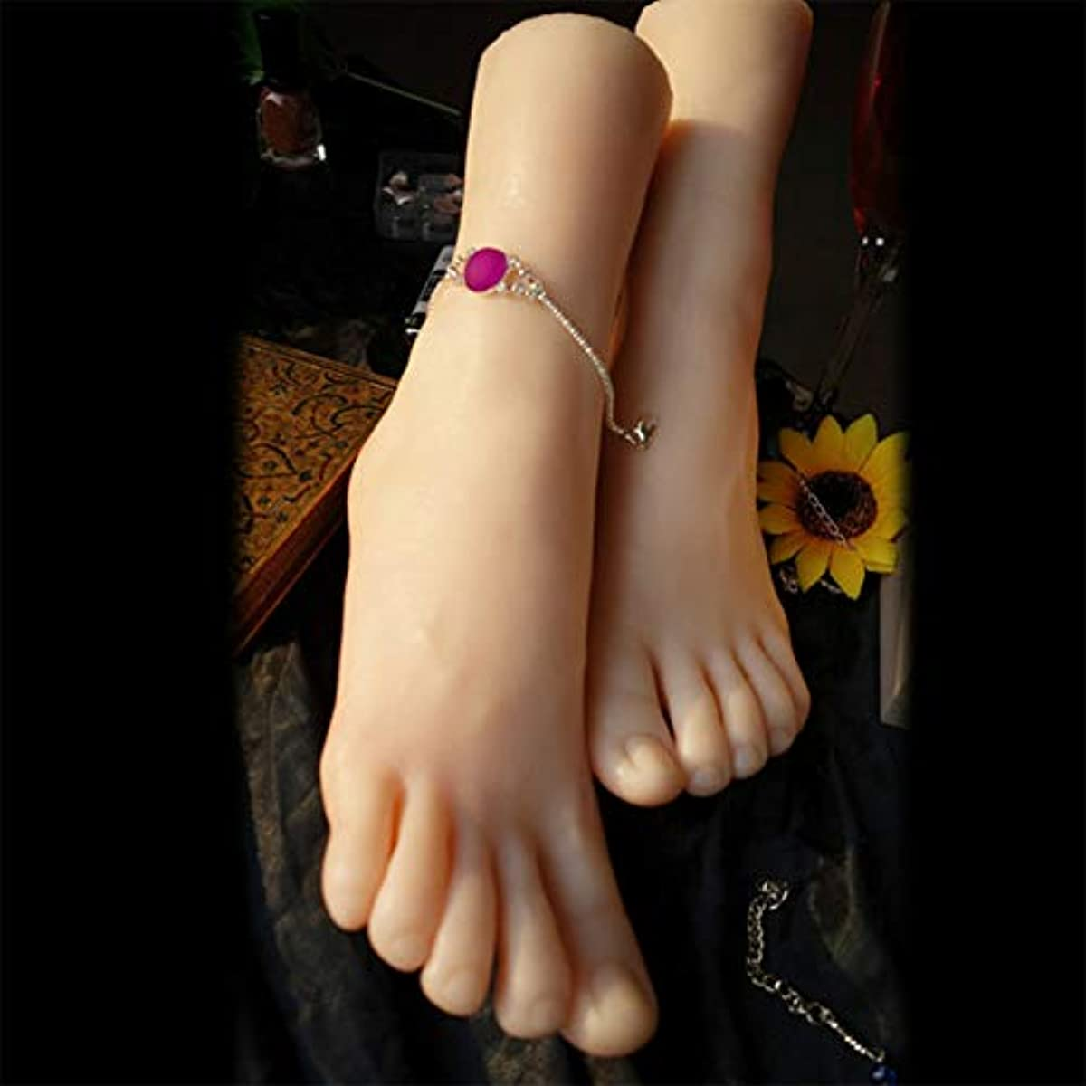 光解明振る1ペアのLifeSizeシリコーン女性のマネキンフットディスプレイJewerlyサンダル靴ソックス表示アートスケッチ