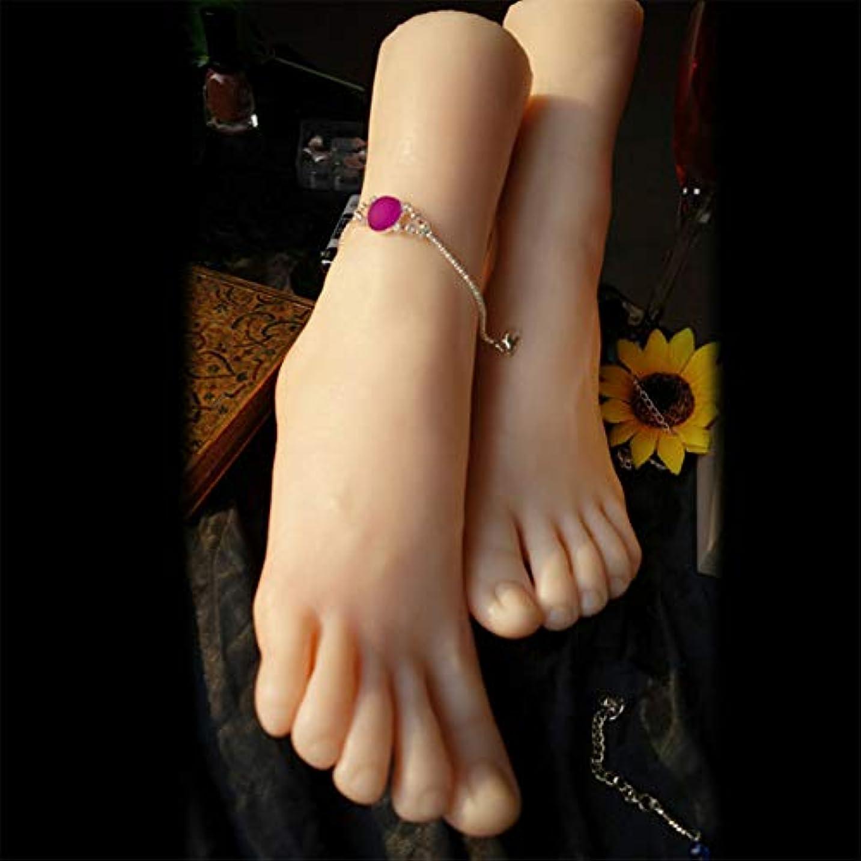 シェルター含意件名1ペアのLifeSizeシリコーン女性のマネキンフットディスプレイJewerlyサンダル靴ソックス表示アートスケッチ