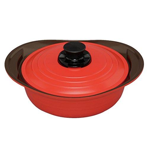 アイリスオーヤマ 両手鍋 無加水鍋 24cm 浅型 レッド MKS-P24S