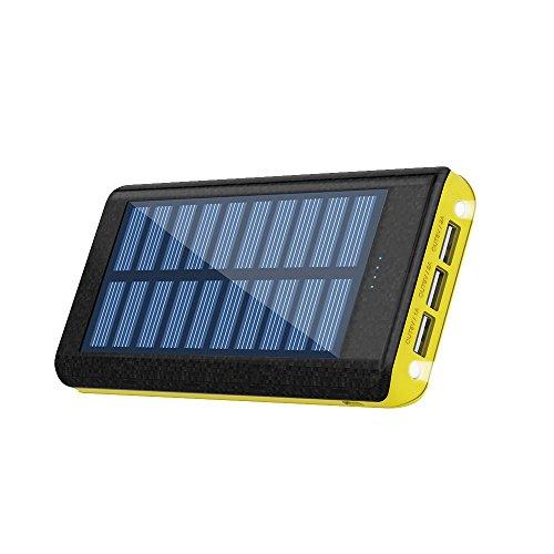 RuiPu モバイルバッテリー ソーラーチャージ 24000mah超大容量 急速充電器QuickCharge iPhone/Android 電源充電可 3USB出力ポート 二個LEDランプ搭載 太陽光で充電でき ACアダプター付属(Yellow)