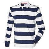 (フロント・ロウ) Front Row メンズ ストライプ 長袖ポロシャツ ラガーシャツ トップス カットソー 男性用 (2XL) (ネイビー/ホワイト)