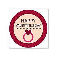 ピンクラウンド型Happy Valentine 's Day withハートリングイメージIllustrationパターンセラミックビスクタイルの装飾バスルーム用装飾キッチンセラミックタイル壁タイル L share00078058f2044-L