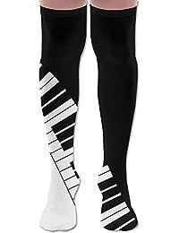 ソフト 65CM 靴下 オーバーニー ハイソックス ロングニーハイ 口ゴムゆったり ビジネスソックス ピアノ キーボード 波 3Dプリント 防寒 フットサポート付き 実用的 美脚 脚長効果抜群 コンフォート