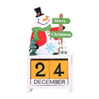 Kofunクリスマス木製のカレンダークリスマス装飾装飾品ホームインテリア用品子供用クリスマス雪だるま