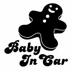 [赤ちゃんがいます Baby in car cookie Ver.11 クッキー カッティングステッカー 2枚組 幅約14cm×高約14cm]黒(ブラック)