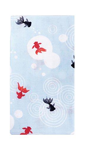 ガーゼTENUGUI 手拭い 柔らかい肌触り タオル代わりに 汗拭き お風呂 首に巻いて 男女兼用 日本製 綿100%(金魚)