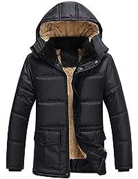 Aiweijia 冬 男性 厚い 暖かく保つ コート トップ ジャケット フード付き ジッパー スリムフィット コート