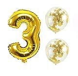 Big Hashiお誕生日パーティー 風船 飾り付け バルーンx2個 ゴールド 数字3バルーン x1個 風船セット(sz-03)